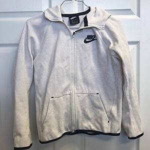 Nike cream and black zip up hooded jacket